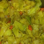 Our Ethiopian-style cabbage, carrots, and potatoes dish
